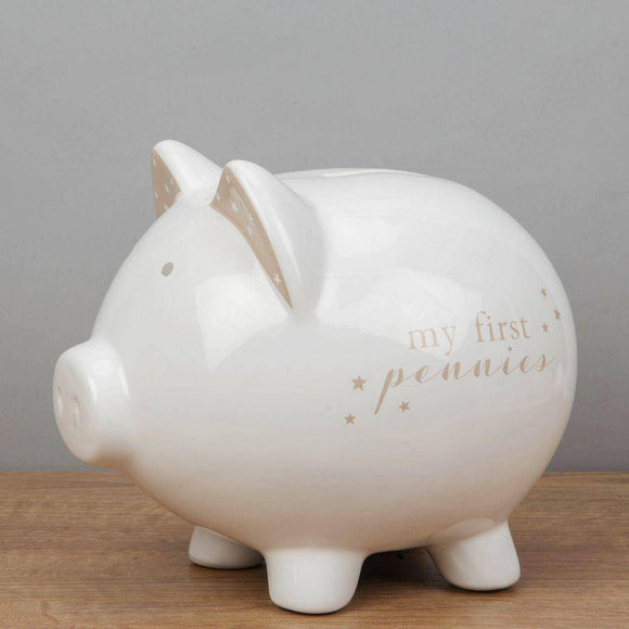 My First Pennies Piggy Bank A delightful ceramic piggy bank from BAMBINO BY JULIANA wonderful new baby gift/Giftworks, Ennis&Galway