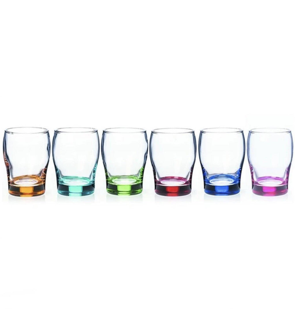 New Grange Living Party Juice Glasses Take a continental approach to your juice drinking experience and Serve your favourite juice in style with these Newgrange Living rainbow Juice Glasses/Giftworks, Ennis&Galway