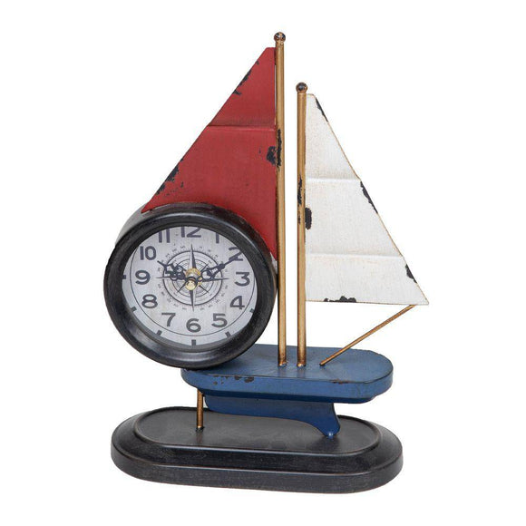 Hometime® Metal Mantal Clock - Sailing Boat. A quirky vintage style metal sailing ship mantel clock/GiftworksStores, Ennis&Galway