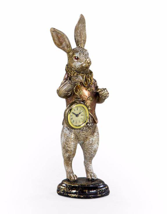 Standing on a black pillar, this enchanting white rabbit stands to attention. Adorable and eye catching with his white and brushed gold colouring, clutching a cute pocketwatch/Giftworks, Ennis&Galway