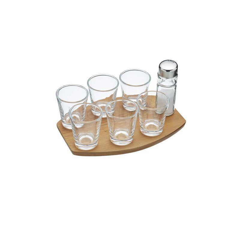 Crack out the tequila, the party has started! With 6 shot glasses and an acacia wood tray, this gift set also comes complete with a salt shaker/Giftworks, Ennis&Galway
