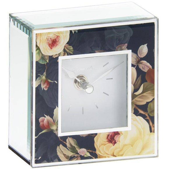 This square modern beautiful Rose Blossom clock with bevelled edge mirror is a lovely gift for any occasion/Giftworks, Ennis&Galway