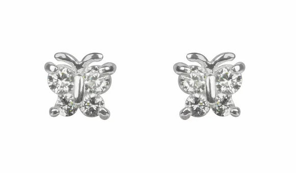 Silver crystal butterfly stud earrings (IEAR0791)