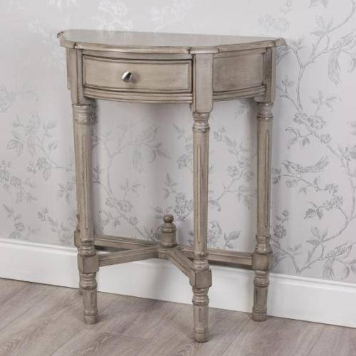 Oyster Grey 1 Drawer Half Moon Table