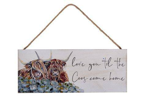 "Family Cow Plaque A lovely wooden wall plaque by Richard Lang featuring 2 adorable Cows reading "" Love you til the Coos Come Home""/Giftworks, Ennis&Galway"