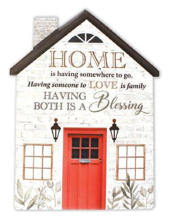 Family is a unique gift that needs to be appreciated and treasured. The porcelain plaque is in the shape of a house and displays the sentiment 'Home is having somewhere to go. Having someone to Love is Family. Having both is a Blessing' Makes a great a gift for new home owners/Giftworks, Ennis&Galway