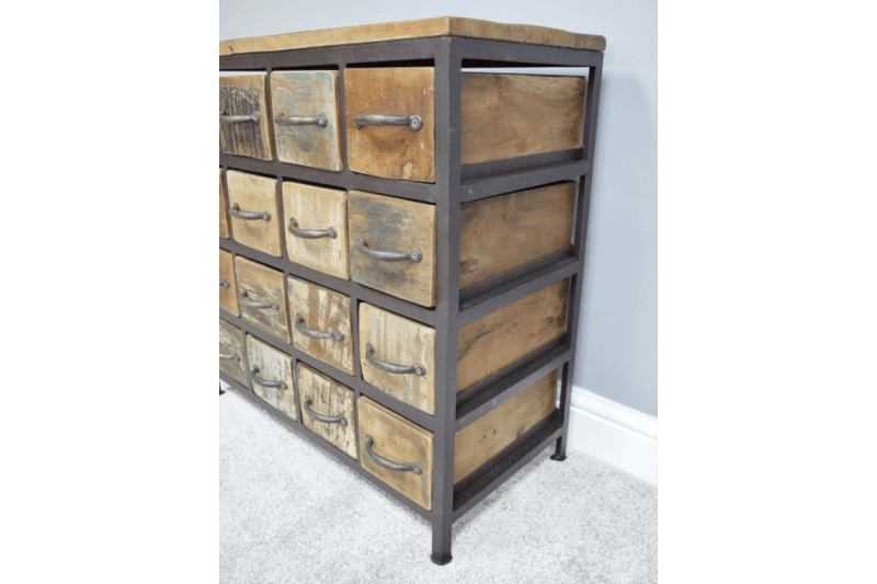 Industrial Furniture Rustic 12 Drawer Cabinet - Giftworks