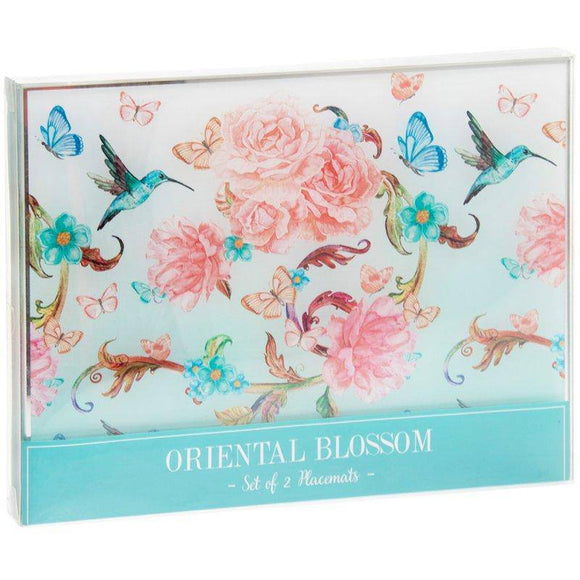 Bring a beautiful burst of colour to any dining room with this delightfully printed set of  glass placemats. Oriental Design in Blossom Flowers, Butterfly and Birds.