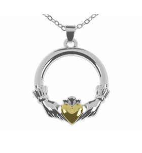 This Indulgence Claddagh Necklace is presented in clean and striking detail through the hand, crown and yellow heart design/Giftworks, Ennis&Galway