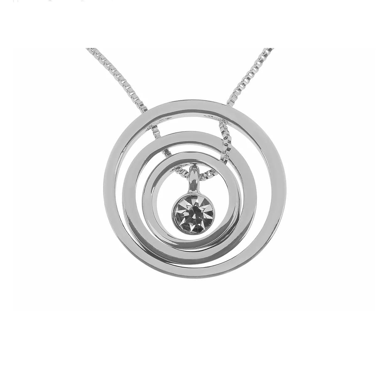 Sophisticated glamour is exuded with this sleek Swirl Pendant/Giftworks, Ennis&Galway