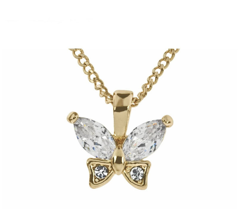 Rose Gold CZ Butterfly Necklace - Giftworks