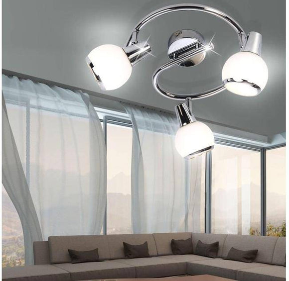 The LED spiral Loris is a beautiful round and shiny center Light. Designed with three swirling interlocked chrome arms which hold three light shade fittings in a spherical shape with a rim of chrome. Semi Flush Ceiling Light are Ideal Lights for Low Ceilings like those throughout Ireland/Giftworks