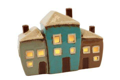 3 House Tea Light Holder A lovely ceramic tea light holder featuring a tall house/Giftworks, Ennis&Galway