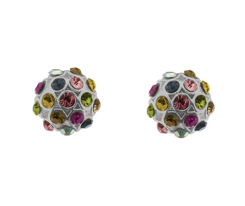 Half Ball Stud Jewellery For Her Multi Stones/Rhodium (IEAR0648) - Giftworks