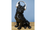 Listening to tunes through headphones is his favourite pastime. Give this gorgeous electroplated dog ornament a home/Giftworks, Ennis&Galway