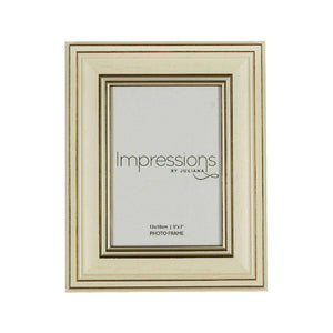 A stylish luxury carved wood effect frame with a cream and gold ridged design from IMPRESSIONS® by Juliana/Giftworks, Ennis&Galway
