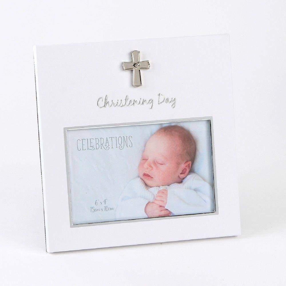 "Christening Day Frame A gorgeous white and silver finished 'Christening' frame with 6"" x 4"" aperture from CELEBRATIONS®. This wonderful christening frame is perfect for treasuring memories from the special day/Giftworks, Ennis&Galway"