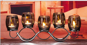 The Grange Collection 5 Glass & Metal Candleholder/Giftworks,Ennis&Galway