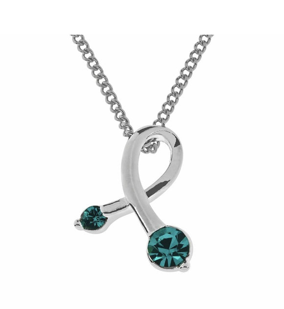 Indulgence Jewellery Necklace Beautifully decorated with 2 teal crystals sitting in a gleaming silver setting. Elegant and unusual Seeming to twirl/Giftworks, Ennis&Galway