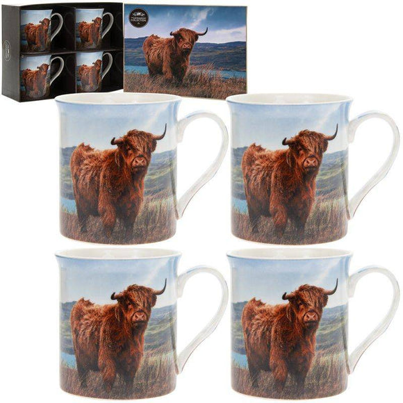 Highland Cow Mugs from the Leonardo Collection come as a set of 4 and are just beautiful. Made from bone china and come in a presentation box, so ideal as a gift or will look fabulous in any kitchen/Giftworks, Ennis&Galway