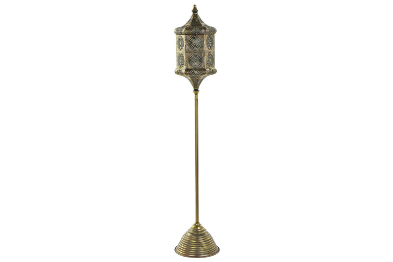 Moroccan-Arabic style candlestick on an antique gold metal stand. - Giftworks