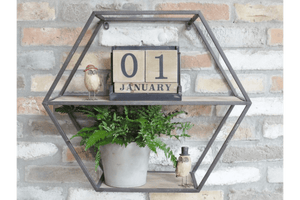 Hexagonal Shelf This metal Hexagonal shelf makes a genuine impact to the design impact of any room or space. Featuring a wood/Giftworks, Ennis&Galway