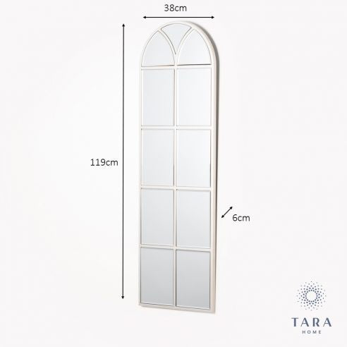 SLIM PALLADIAN WINDOW MIRROR SOFT CHAMP 119CM - Giftworks