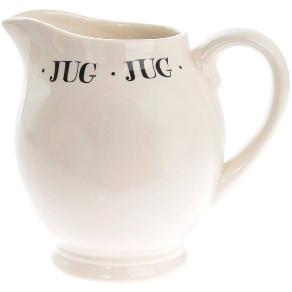Complete your tea set with a pretty Ceramic Jug. Serve your drinks and water the right way with the Cream Script Ceramic Jug.  A convenient place to keep milk, cream or your favorite oils or other liquids. Giftworks