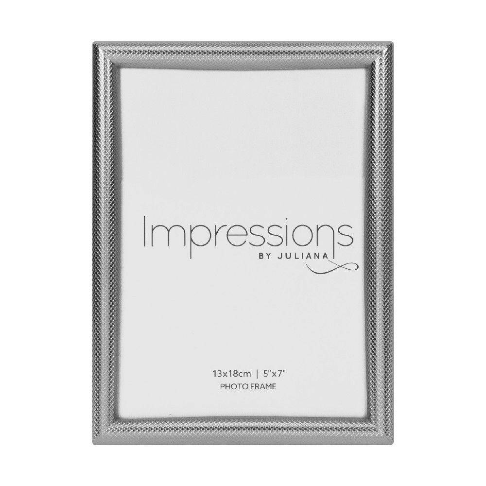 "A beautifully elegant, heavy cast, cross-hatched silver finish 5"" x 7"" photo frame from IMPRESSIONS® by Juliana/Giftworks, Ennis&Galway"