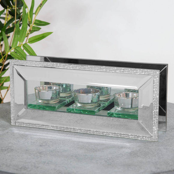 Crystal Triple Tea-Light Holder Set the mood in sparkling style with this mirror glass and crystal triple tea-light holder/Giftworks, Ennis&Galway