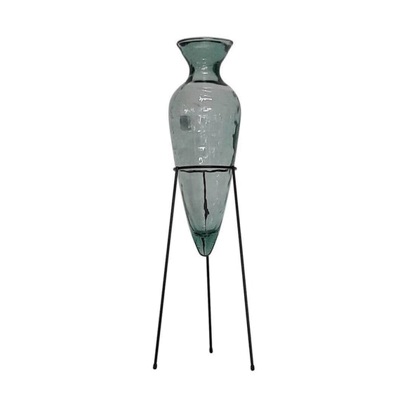 Large Vase 100CM Transparent Recycled glass Autenthic range A large recycled glass vase held by a rust wrought iron tripod stand/Giftworks, Ennis&Galway