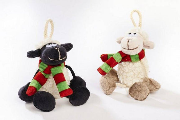 Sitting Sheep With Scarf Adorable sitting sheep with scarf. Soft and cuddly with a choice of 2 designs/Giftworks, Ennis&Galway