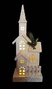 White wooden church with fence Create your own winter wonderland at home with this charming White wooden church with fence and LED lights/Giftworks, Ennis&Galway