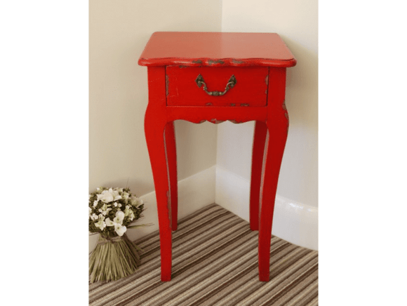 Large Red Cabinet to your room with this stunning shabby chic Red Lamp Table. In a red painted distressed finish, this vintage French style side table/Giftworks, Ennis&Galway