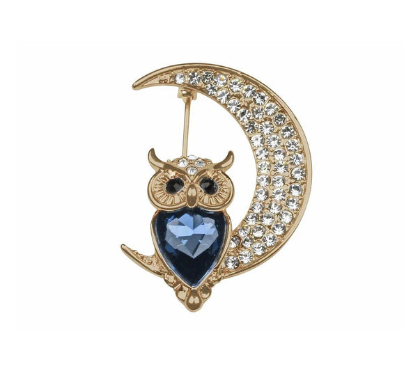 Rose Gold Crystal Montana Owl & Moon Brooch