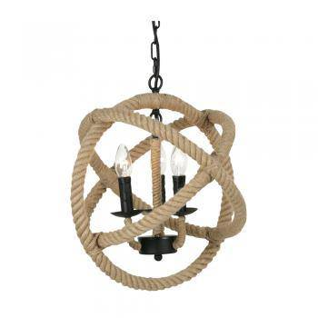 Corde 3 Light Ceiling Pendant, Rope Finish/Giftworks, Ennis&Galway