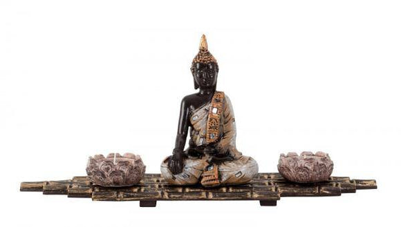 BUDDHA TEA-LIGHT HOLDER ON BAMBOO LOOK MAT