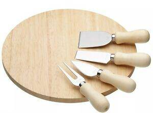 Perfect for serving cheese to friends and family, this cheese serving set features three cheese knives and a cheese fork, all with stainless steel blades and wooden curved handles to allow for comfortable and controlled use. Includes a 25cm round natural wood serving board/Giftworks, Ennis&Galway