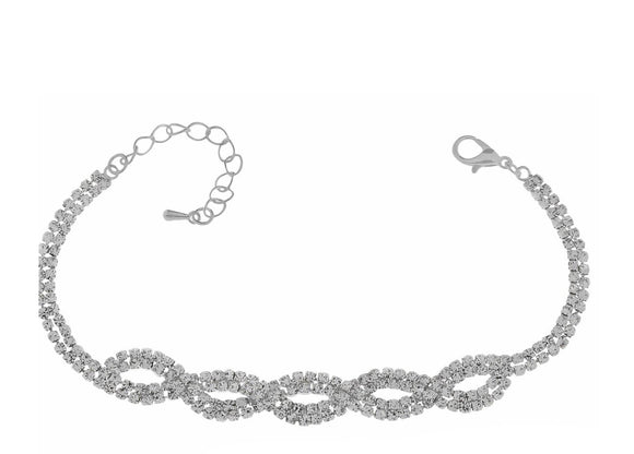 Indulgence Jewellery Bracelet Sophisticated glamour is exuded with this sleek twisted Bracelet from Indulgence Jewellery. An eye catching sparkling diamanté to add some glam to any outfit/Giftworks, Ennis&Galway