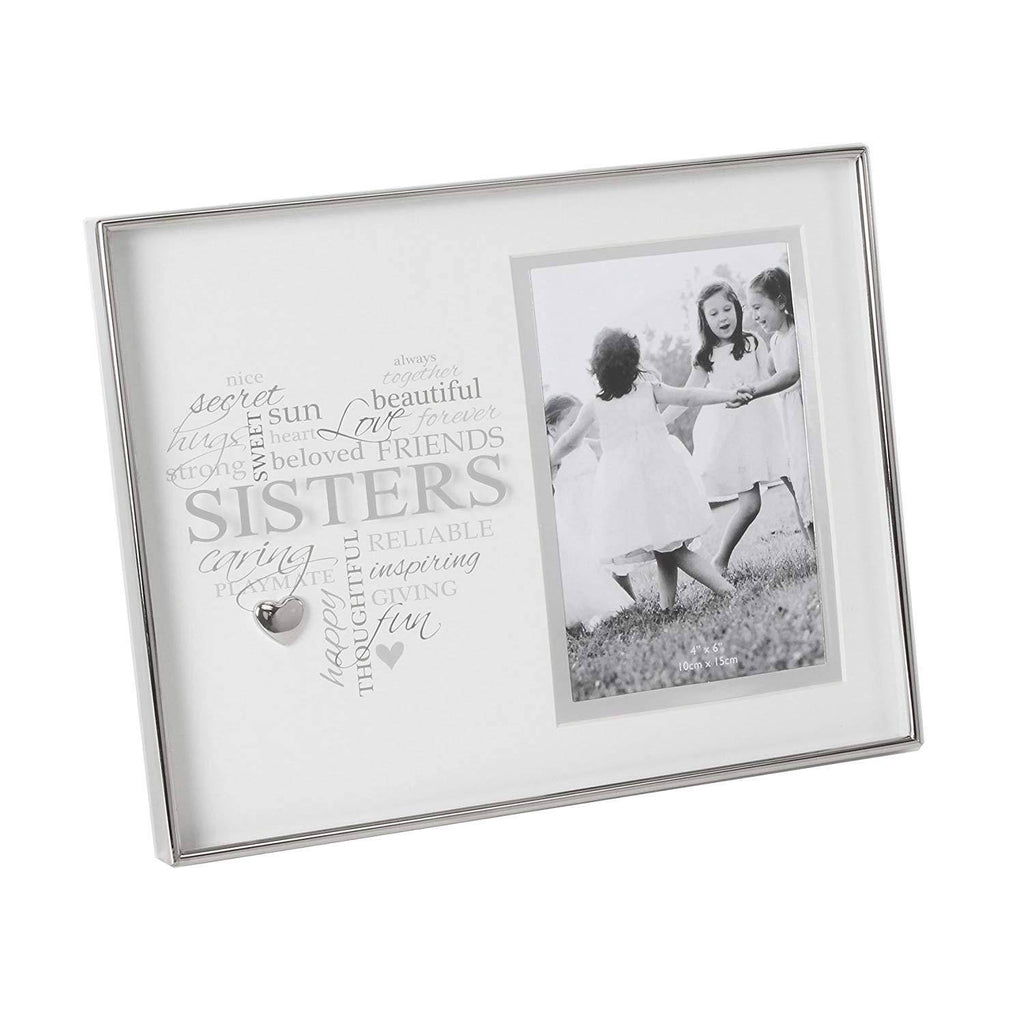 "A gorgeous nickel plated 'Sisters' frame with 4"" x 6"" aperture from Heartfelt Moments by Celebrations.This beautiful frame is in a stylish and modern style that will make a wonderful gift/Giftworks"
