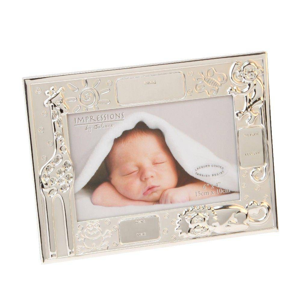 Baby Data Photo Frame A silverplated Noah's Ark style photo frame from CELEBRATIONS®. The frame is embellished with cute engravings of wild animals including a giraffe, monkey and lion/Giftworks, Ennis&Galway