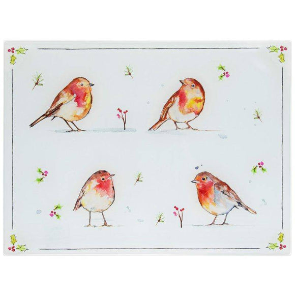 Winter Robin Worktop Saver. Perfect for your Christmas kitchen and illustrated with a gorgeous festive snowy scene with a Robins & berry design/Giftworks