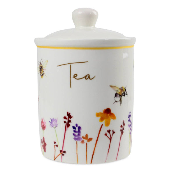 Busy Bees Fine China Tea Canister. Made from Bone China this delightful design is a welcome addition to any home. This fun and homely Busy Bees Tea Canister is decorated with an array of colours. The Jennifer Rose collection has captured these busy Bees hovering above beautiful wildflowers/Giftworks