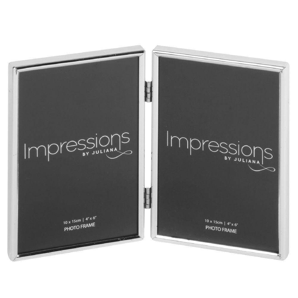 "A beautifully simple silver plated hinged photo frame from IMPRESSIONS® by Juliana. Featuring two 4"" x 6"" apertures and luxury black velveteen backing/Giftworks, Ennis&Galway"