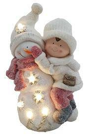 MGO Boy with Snowman Create a beautiful winter wonderland scene in your home with this charming Christmas Snowman and Boy Ornament/Giftworks, Ennis&Galway
