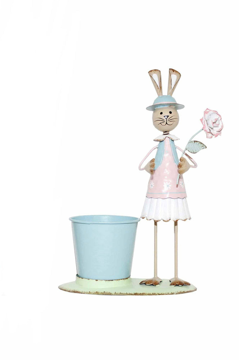 Mrs Pastel Metal Bunny with Pot Easter Decorations - Giftworks
