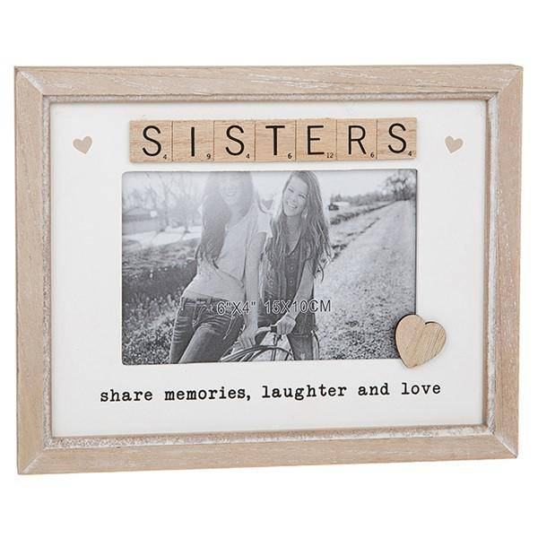 Scrabble Rustic Frame Sisters This light wooden frame with a white background has wooden scrabble letters spelling out the word 'Sister'/Giftworks, Ennis&Galway