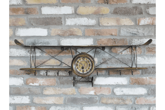 Stunning Rustic Finish Aeroplane Wall Clock. With the Attractive design of an aeroplane, this shelf not only adds practicality but also character to any room you decide to place it in/Giftworks, Ennis&Galway