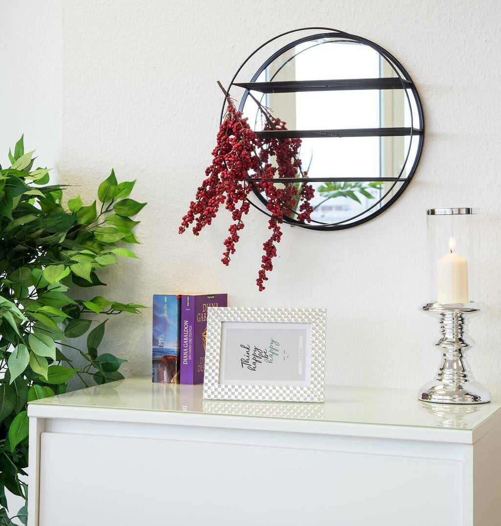 Betty Black Mirrored Shelf This wall mirror with 3 shelfs is an eye-catcher and the perfect addition to modern interior design - simple, classic, stylish/Giftworks, Ennis&Galway