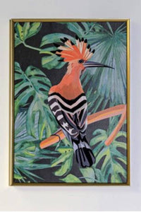 Orange Bird Framed Canvas bring a stylish touch of tropical pattern into the home/Giftworks, Ennis&Galway